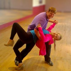 Wedding Couple at Dance Lesson at Chevy Chase Ballroom